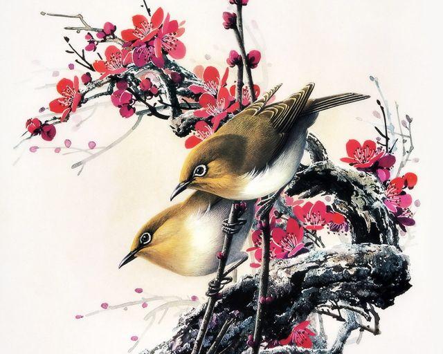 """Čínské jméno pro straku znamená """"pták radosti"""". Straka vždy oznamuje příchod radosti nebo štěstí. Proto symbol radosti. Straka usazená na větvičce kvetoucí švestky znamená, že se odehraje něco velmi potěšujícího. Dvě straky, sedící proti sobě, naznačují """"dvojitou radost"""" nebo """"potěšení ze setkání s druhou osobou"""". Tento motiv symbolizuje šťastné a naplněné manželství."""
