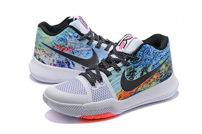big sale b4e84 52a68 2018 New Nike Zoom Kyrie 3 Mens Basketball Shoes All Star White Black Blue  Multi Color