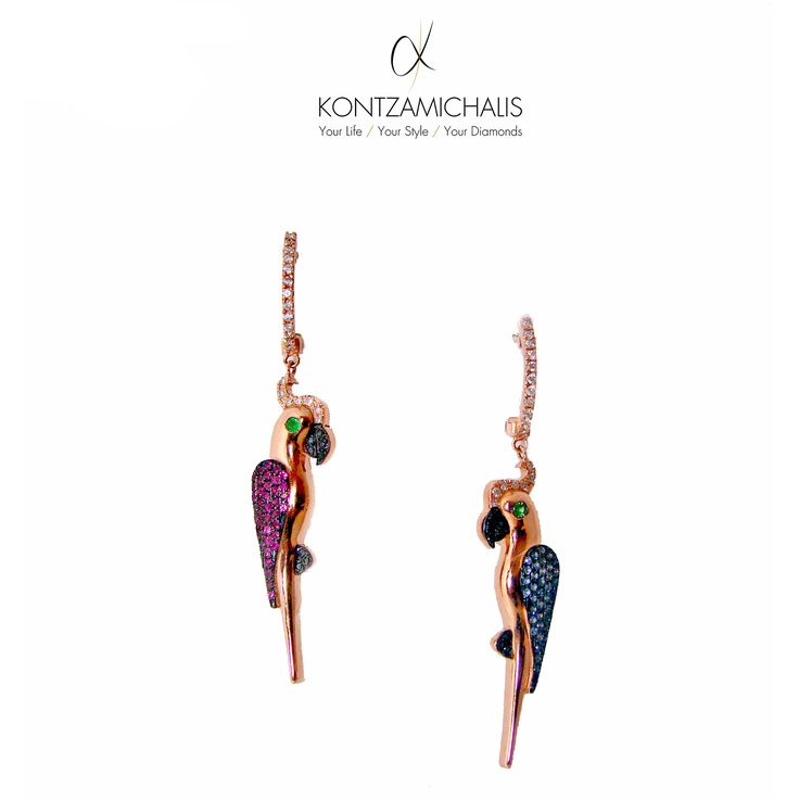 Light as a feather, our parrot earrings are extremely comfortable while remaining a luxurious piece of #KontzamichalisJewellery  We dare you discover the #animalierCollection : http://kontzamichalis.com/animalier
