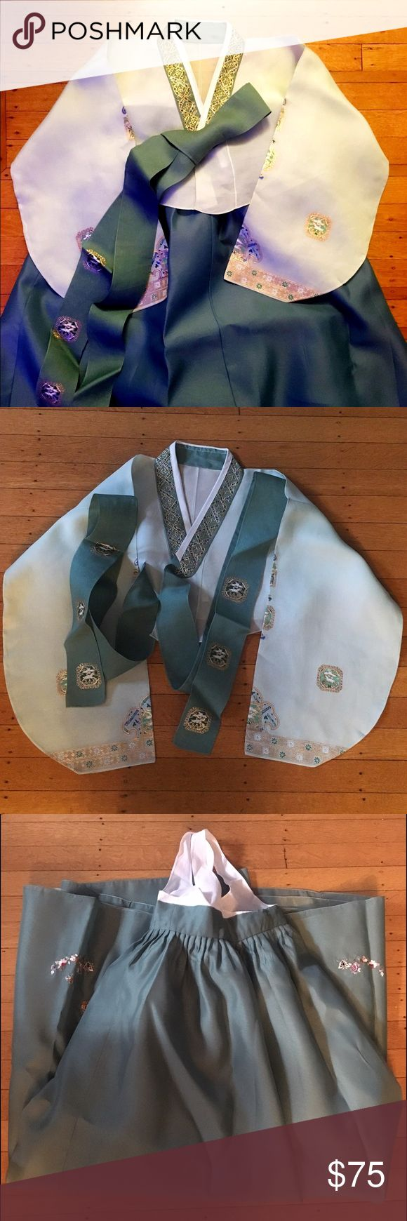 """Authentic Korean Hanbok Gently used hanbok (contains jacket and skirt) has been dry cleaned and ironed. I am 5'6"""" and it is a little too short on me. Ideal for heights 5'4"""" and under. Chest: 37.5"""" max, can be tied tighter, length: 45"""", sleeve (from shoulder to wrist): 24"""". On one of the sleeves the fabric has frayed a little bit but it is not noticeable. Dresses Maxi"""