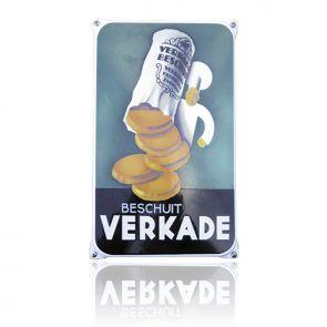 Heerlijk nostalgisch, die emaille reclameborden van vroeger! Bijna niet van origineel te onderscheiden en handgemaakt, dit bord van Verkade.
