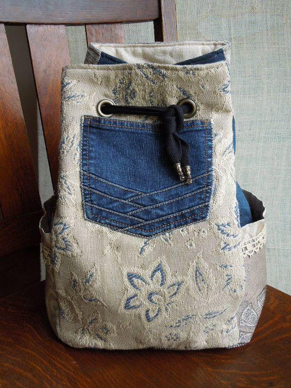 Boho Backpack Gypsy Sling Bag Denim Drawstring Bag Neutral Chic Bohemian Purse