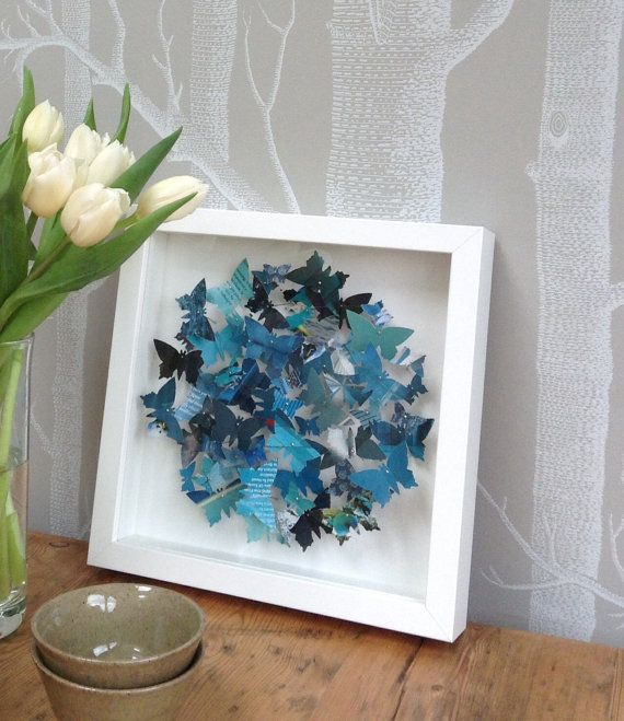 Personalisable butterfly wall art teal 3D by RebeccaReesDesign