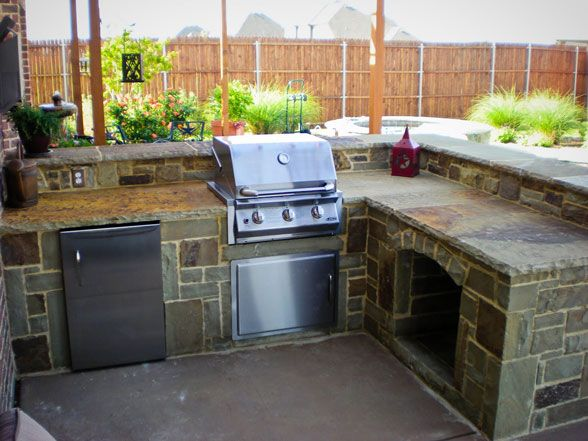 53 best images about build a barndo on pinterest built for Outdoor stone kitchen designs