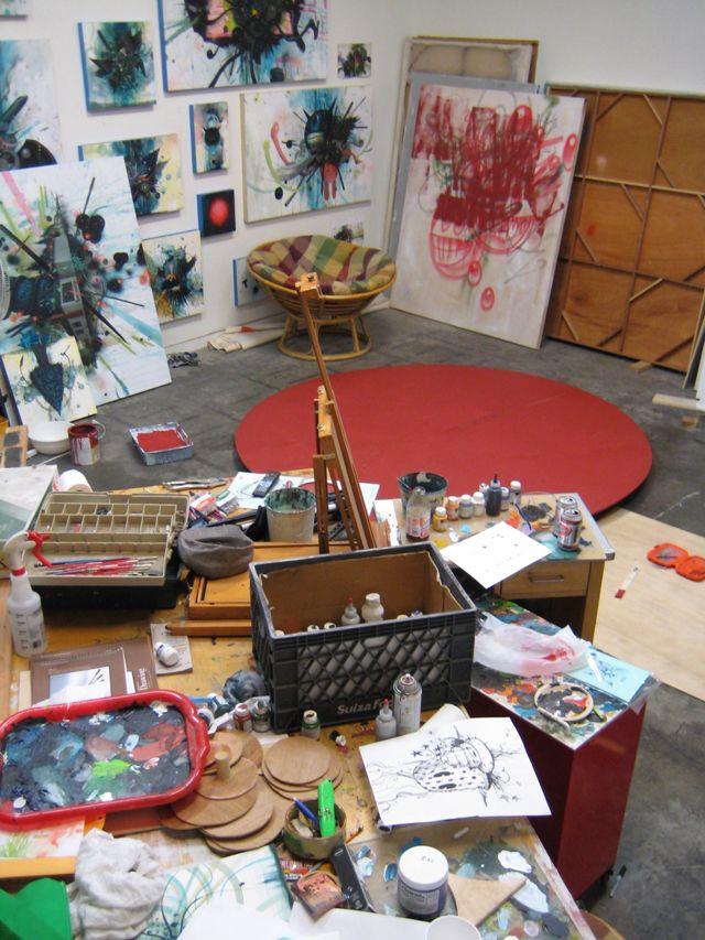 paintinginthedark:     Jeff Soto's studio