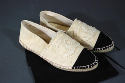2013 Chanel Espadrilles Shoes Canvas Ecru Beige Black New in Box   eBay