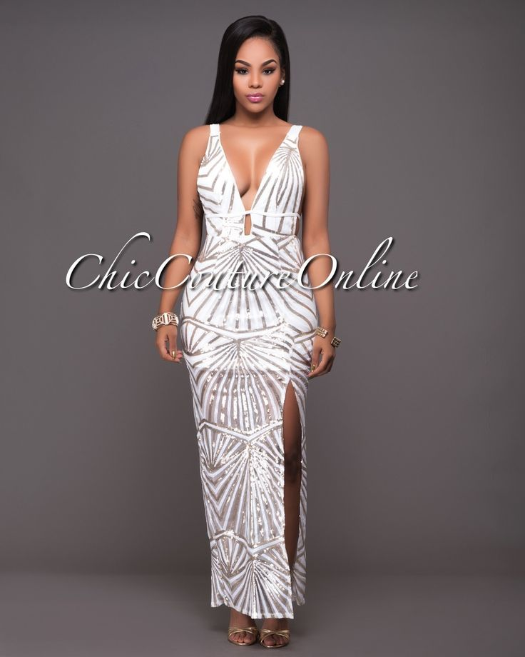 Chic Couture Online - Liev White Gold Sequins Daring Back Maxi Dress.(http://www.chiccoutureonline.com/liev-white-gold-sequins-daring-back-maxi-dress/)