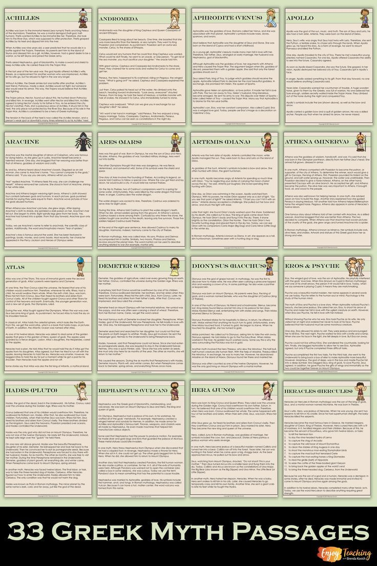 hight resolution of 33 passages introduce characters from Greek mythology for kids in third  grade