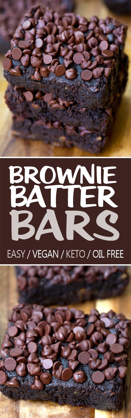 Chocolate Brownie Batter Bars (Vegan, Oil Free, Keto Option)