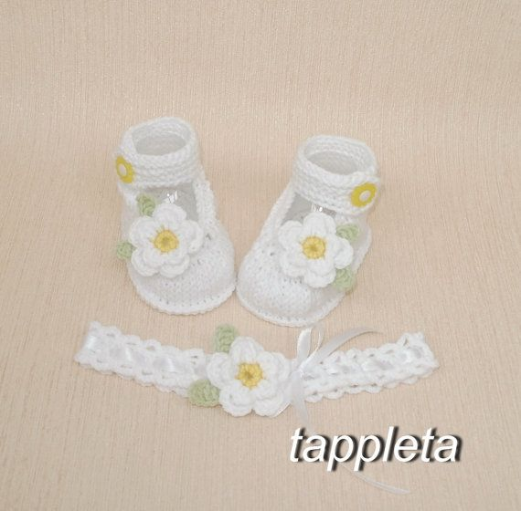 baby #booties white baby booties and #headband Baptism от #tappleta