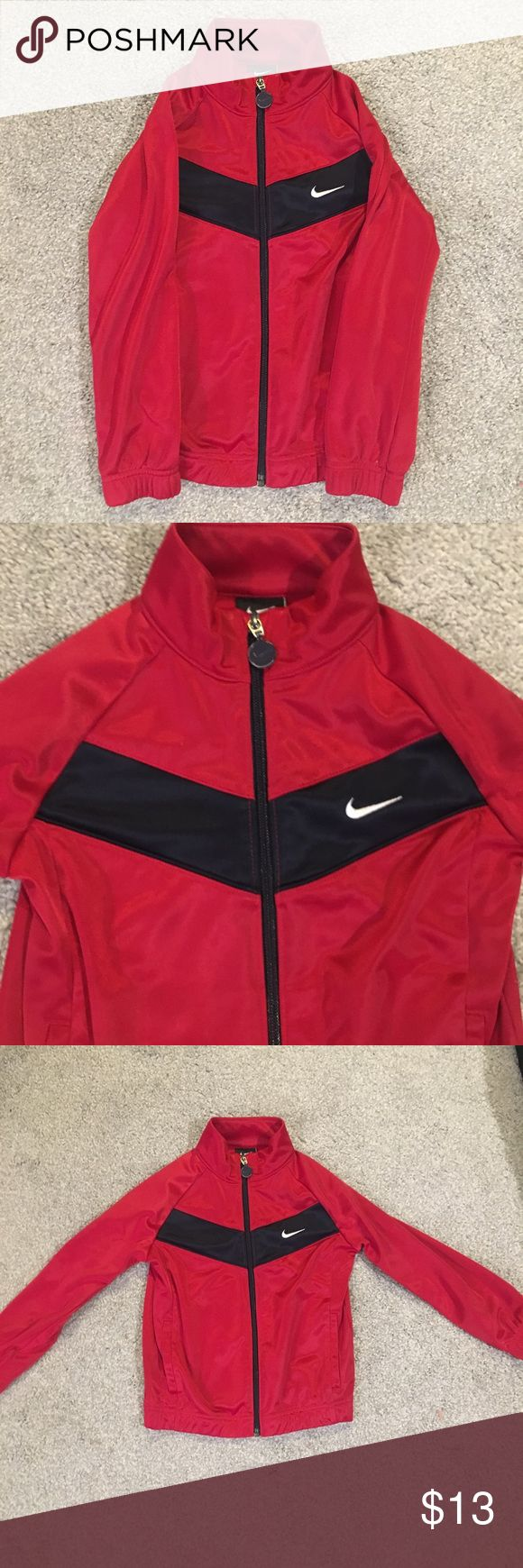 Little Boys' Nike Jacket Red Nike zip up jacket with a light fleece lining. Black stripe across front and back. EUC Nike Jackets & Coats