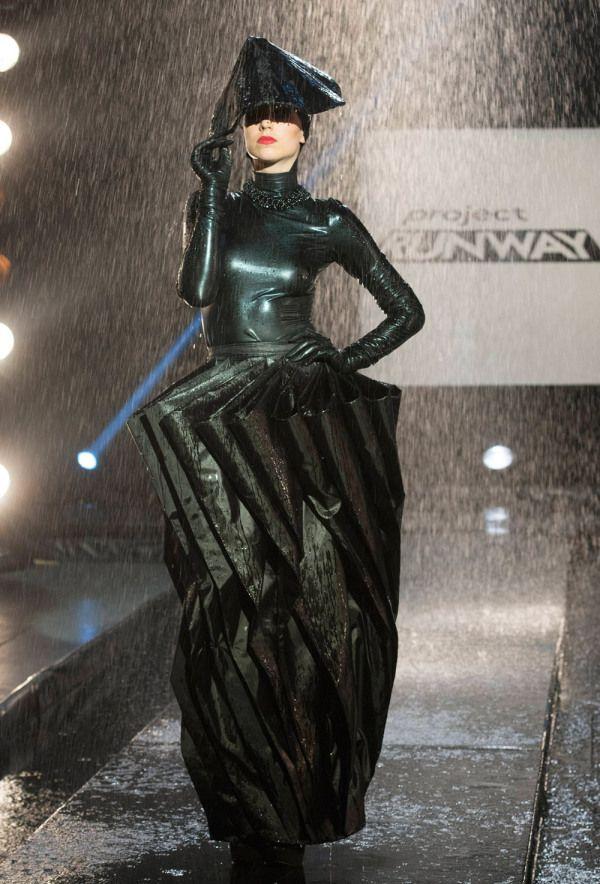 "Kini Zamora's Umbrella Dress from the episode ""the rainway"" of Project Runway Season 13."