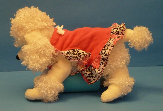 Dog Clothes Puppy Dress in Hot Pink with Black by marvela1945