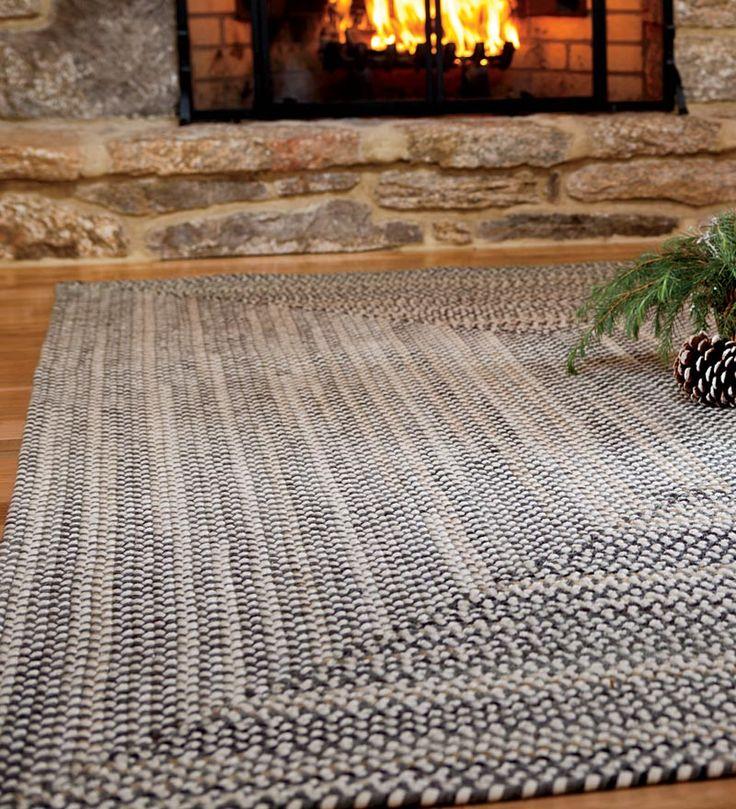 American-Made Bear Creek Rectangular Braided Wool And Nylon Blend Rugs