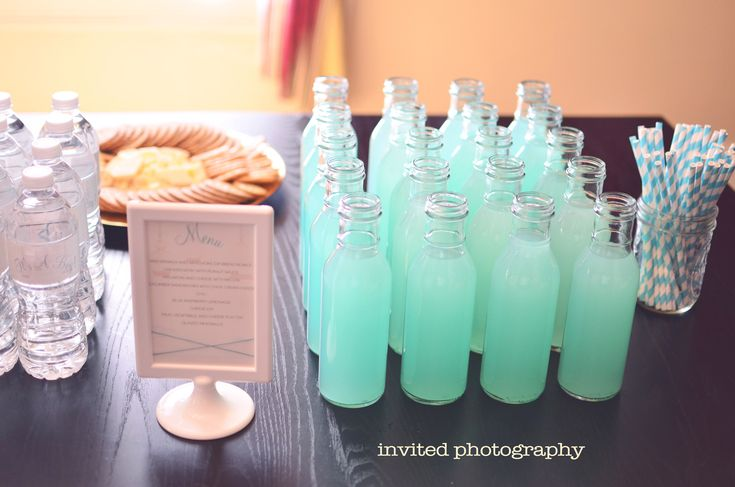 koolaid blue raspberry lemonade mix, sugar, water, and old time lemonade mix! Would be great for a Breakfast at Tiffany's baby shower. :)