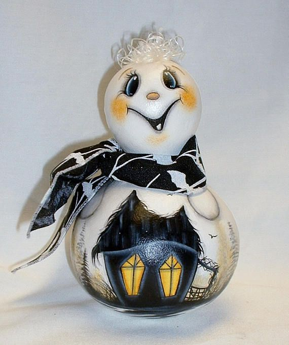 Ghost Gourd with Haunted Witch House  Hand Painted Gourds