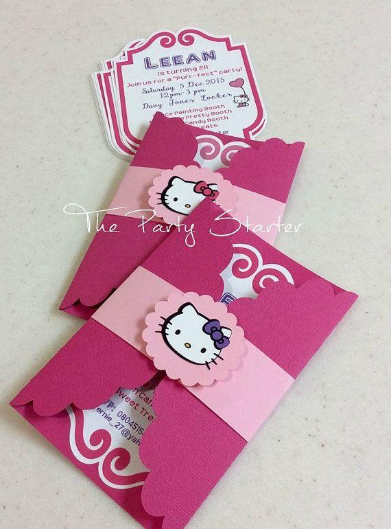 Hello Kitty Invitations by ThePartyStarterInc https://www.facebook.com/thepartystarterinc                                                                                                                                                                                 Más