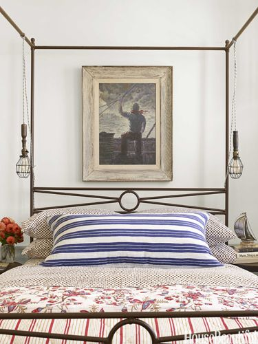 Mix and match your bedding. Designed by Ken Fulk. housebeautiful.com #decorating_ideas #bedroom #four_post_bed