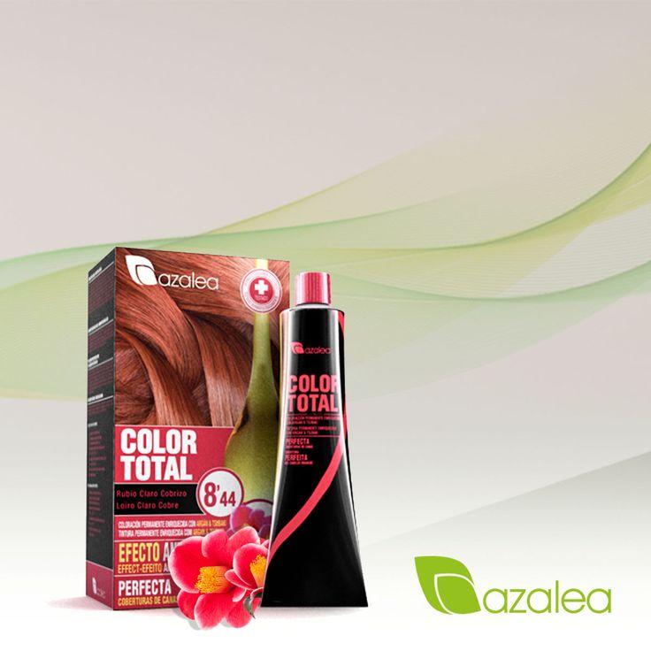 ¡Estamos encantados con el tono Rubio Claro cobrizo 8,44 de #AzaleaCosmetics! 💛 ¿Te gusta?  #ColorTotal #Hairstyle #Coloracion #Tendencias #Tinte #Teñir #TintesenCasa #RubioClaroCobrizo #Tono