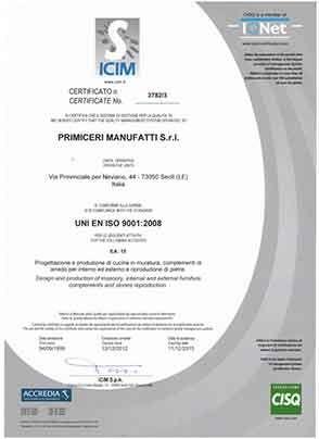 Primiceri Manufatti - Certificazione ISO