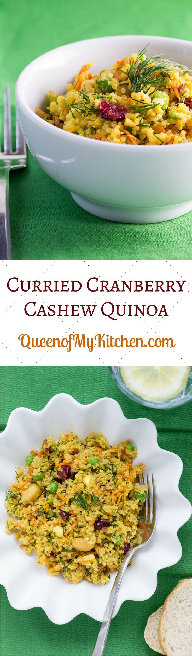 Curried Cranberry Cashew Quinoa – A quinoa salad with a colorful assortment of healthy ingredients and a curry infused Greek Yogurt dressing. Gluten-free. | QueenofMyKitchen.com