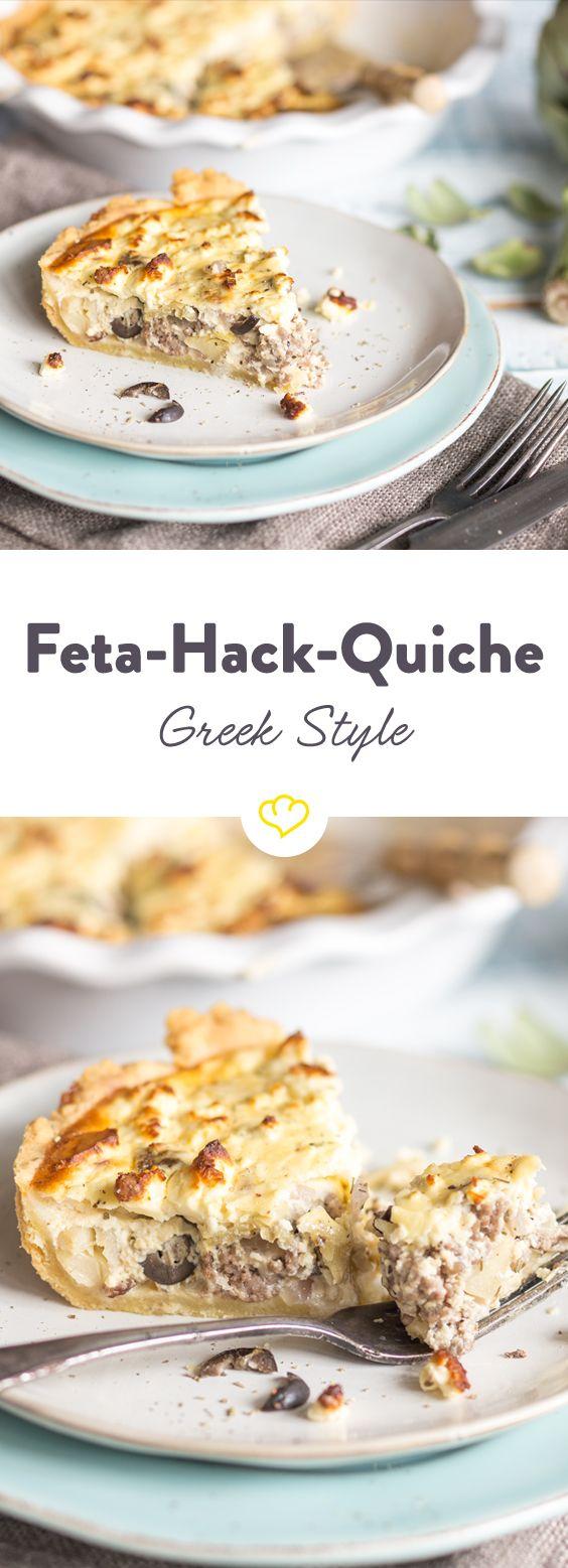 Wenn Frankreich und Griechenland auf dem Teller eng zusammenrücken, kommt dabei eine mediterrane Schlemmer-Quiche mit saftigem Hack, Feta und Oliven heraus.