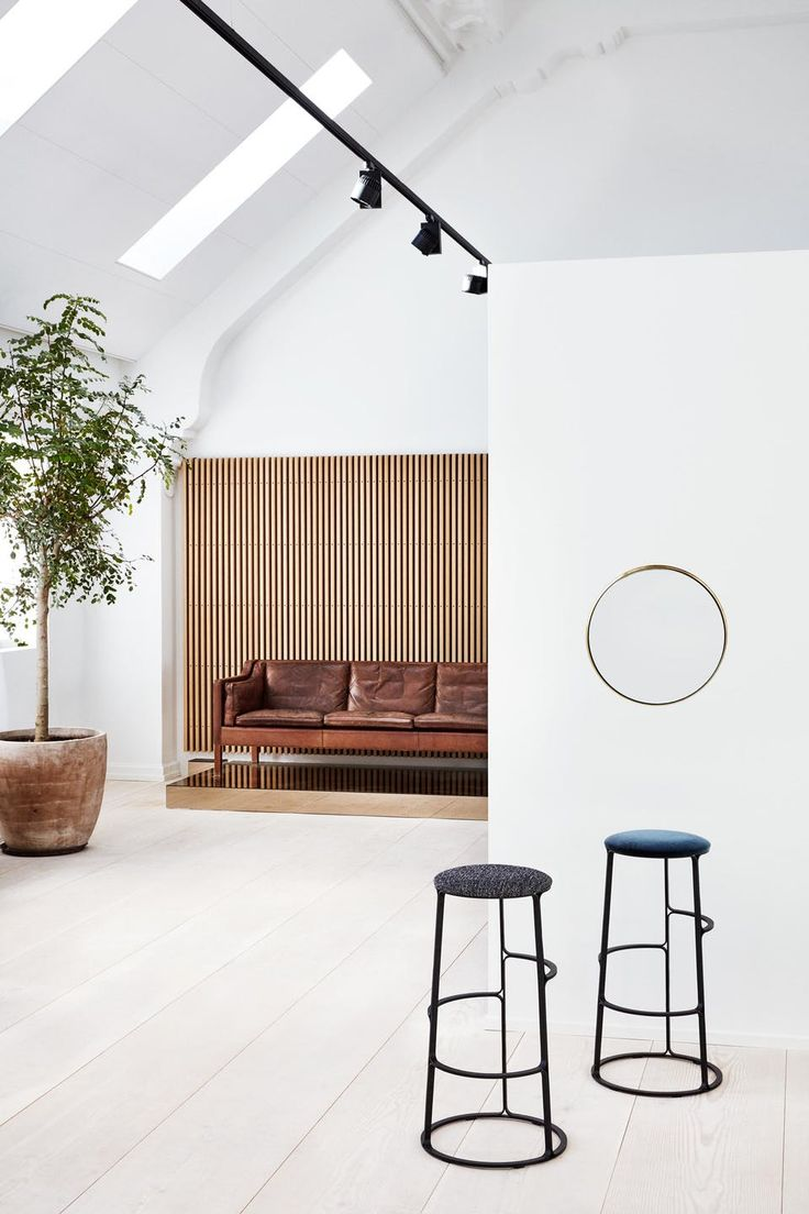 The leather sofa is the first prototype of 2213-sofa by the Danish designer Børge Mogensen. The mirror and the bar stools are also Danish design.