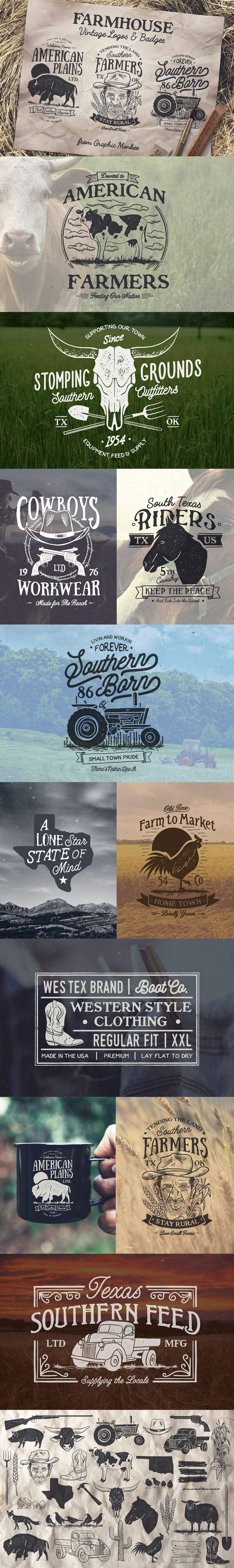 Farmhouse Inspired Vintage Logos and Badges This set features 12 hand drawn logos and over 30 farm inspired illustrations!