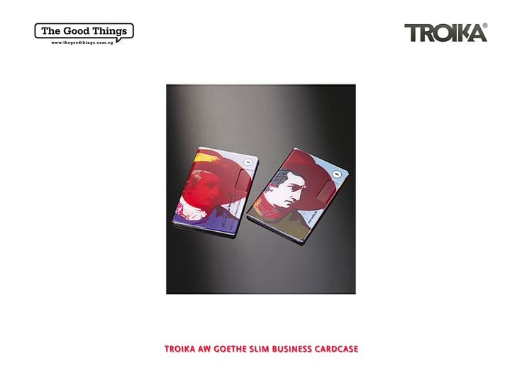 TROIKA AW GOETHE SLIM BUSINESS CARDCASE.    This limited edition slim business card case is perfect for Trade Fairs and business functions. It has been produced to the highest quality by Troika and was created in conjunction with the Warhol Foundation for the Visual Arts.    #tgt #thegoodthings #troika