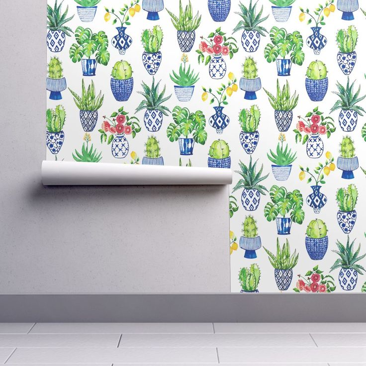 Isobar Durable Wallpaper featuring Chinoiserie Cactus in Blue and White by limezinniasdesign