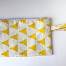 "Clutch bag ""Chartreuse Triangles"" by Sew & Such. Shop on Hellopretty.co.za"