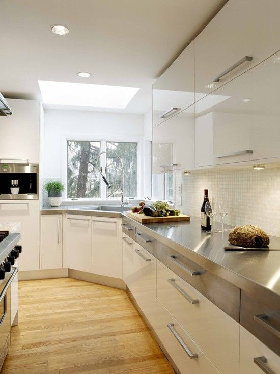 Stainless Countertops Design, Pictures, Remodel, Decor and IdeasCorner Sinks, Tops Drawers, Kitchens Design, Contemporary Kitchens, Steel Countertops, Kitchens Corner, Kitchens Sinks, White Kitchens, Stainless Steel