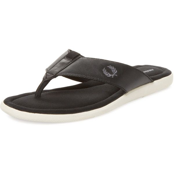 Fred Perry Men's Seacroft Flip-Flop - Black - Size 6 ($25) ❤ liked on Polyvore featuring men's fashion, men's shoes, men's sandals, men's flip flops, black, mens black leather flip flops, mens black sandals, mens leather sandals, mens flip flops and mens open toe shoes