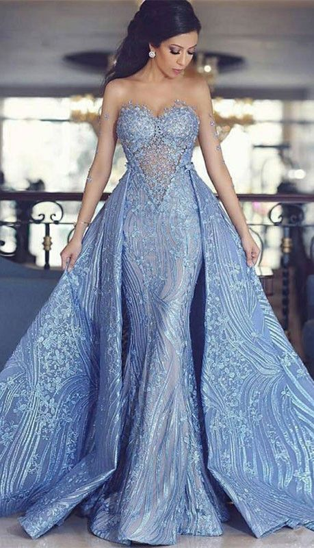 de6dd33660a6 Modest Lace Sweetheart Long Evening Dress | 2019 Detachable Train Prom Dress  From 27dress.com