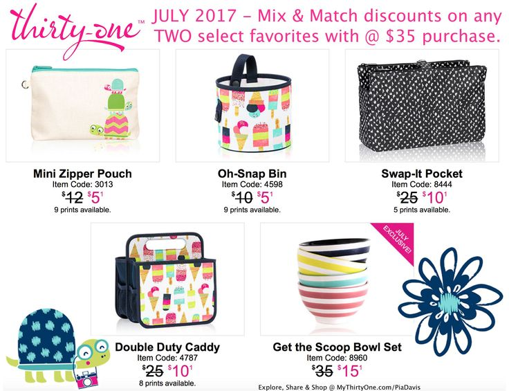 SWEET SPRINKLES from Thirty-One is HERE, but only for JULY 2017. Oh-Snap Bin, Swap-It Pocket, Mini Zipper Pouch and Double Duty Caddy. Get yours quickly at My Thirty-One.com/PiaDavis