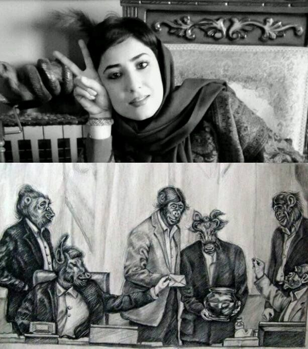 The cartoon that Atena Faraghdani posted on Facebook that earned her 12 years in prison in Iran. She is just one of many who are being imprisoned for expressing any sentiment critical of the ruling mullahs.