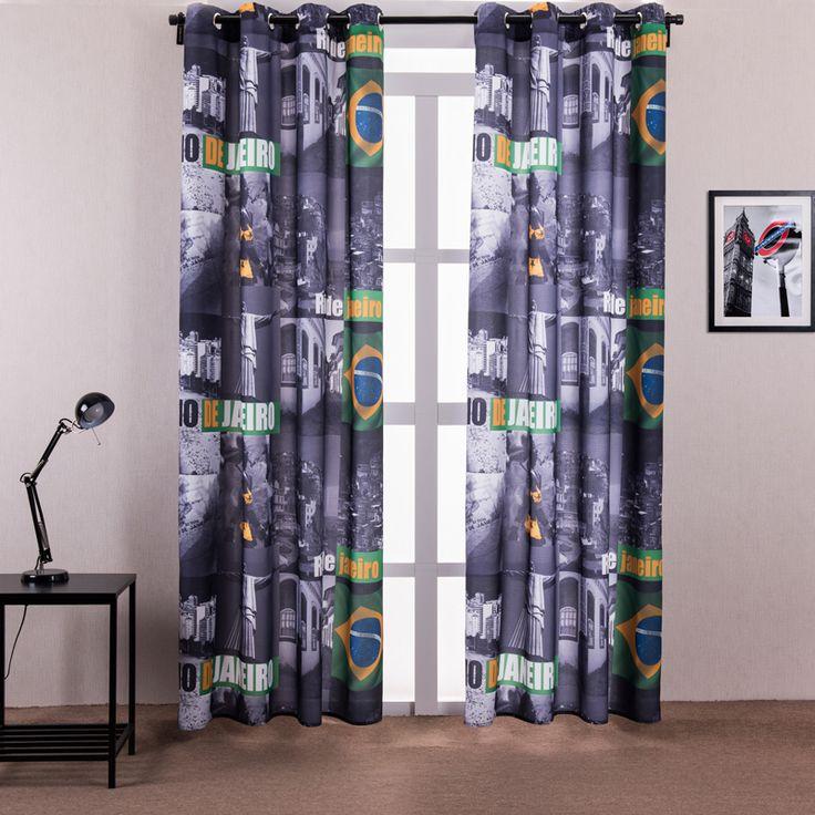Занавес окна гостиной напечатаны рио-де-жанейро европа стиль китайский шторы для плоских окна крюк 1 шт. бесплатная доставка