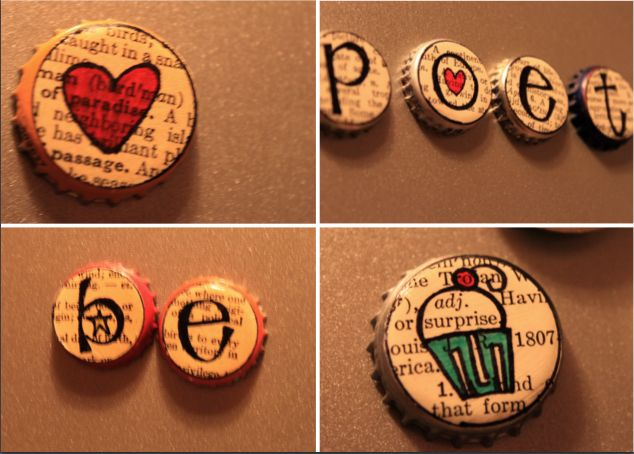 Soda/Beer bottle caps + buttons + magnets = Cute!  (put the button in between the cap and magnet for extra hight)