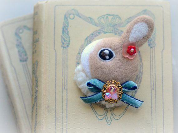 Handmade needle felt rabbit brooch jeweled rabbit by NozomiCrafts, $21.00