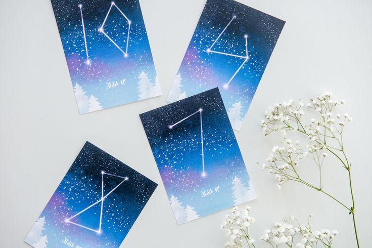 Numeracja stołów jako gwiazdozbiory na niebie #nightsky #winterwedding #constellations