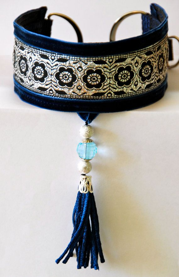 Greyhound collar, Saluki, Whippet, Lurcher, dog with tassel on Etsy, $13.99