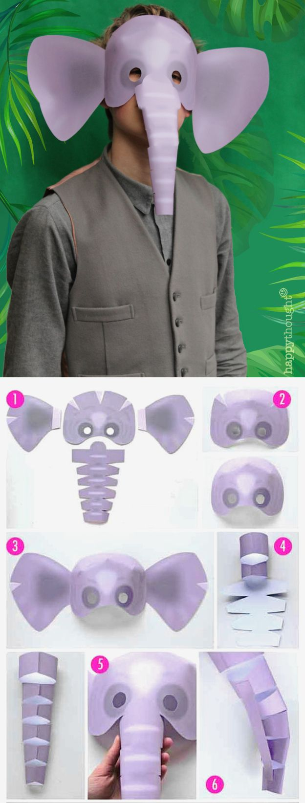 Be an Elephant! Perfect printable wild animal mask templates at Happythought.co.uk