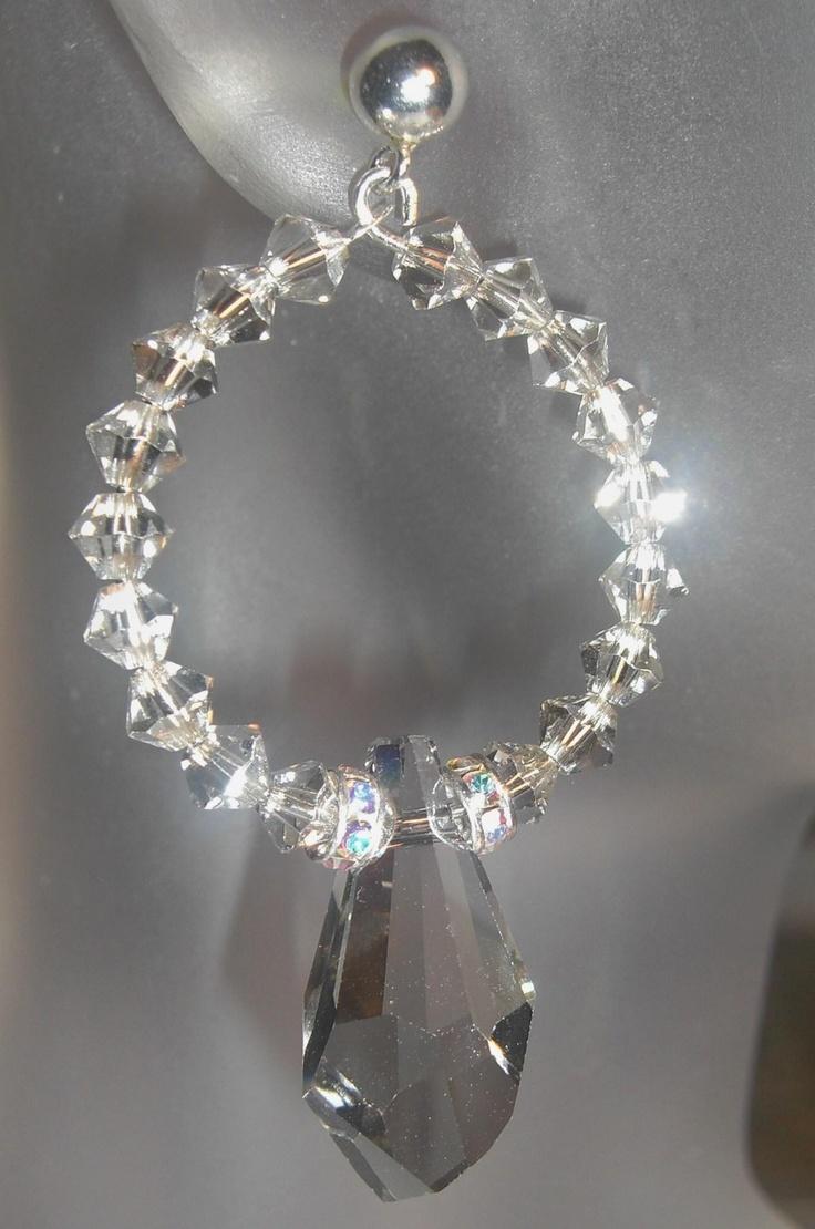 Swarovski Crystal Polygon Drop Earrings in Silver Shade. $78.00, via Etsy.
