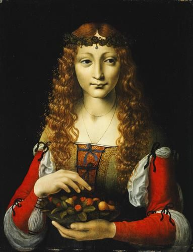 Giovanni Antonio Boltraffio Girl with Cherries Renaissance Oil Painting. Love the sleeve ties and various fabrics used in the dress.