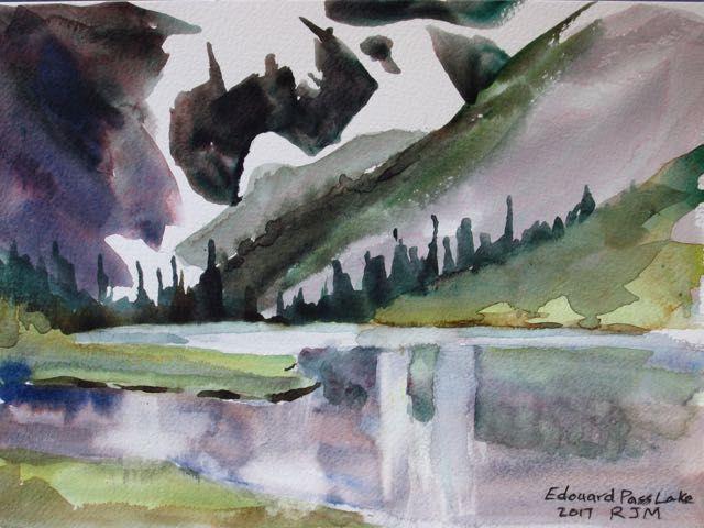 Edouard Pass Lake, 2017, Watercolour, Bob McQueen
