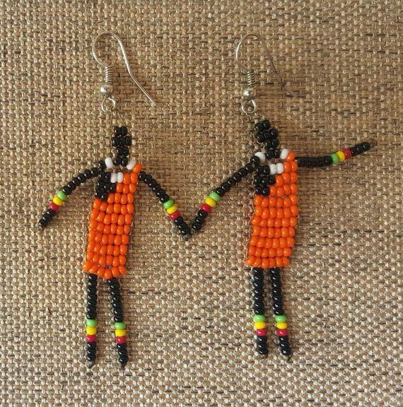 Masaai Warrior Earrings Beaded Earrings  Beaded by KaribuAfrica