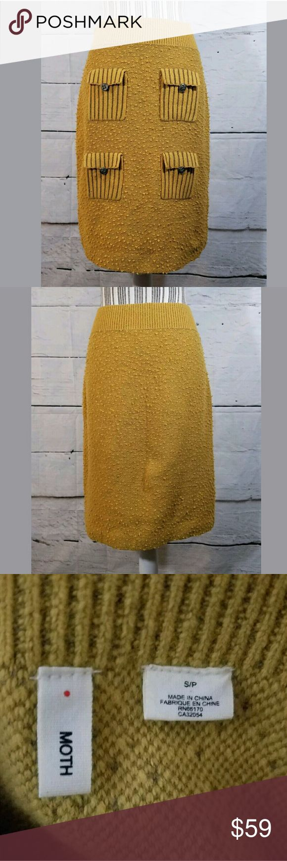 Anthropologie Moth Mustard Yellow Skirt Anthropologie Moth Mustard Yellow Skirt Pockets Wool Blend Small  Excellent used condition.   29 inch waist.  40 inch hips.  22.5 inches long.    LB Anthropologie Skirts Pencil