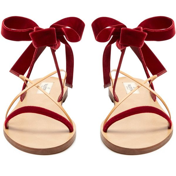 Valentino Velvet flat sandals found on Polyvore featuring shoes, sandals, flats, red sandals, ankle strap sandals, flat shoes, tan flats and valentino flats