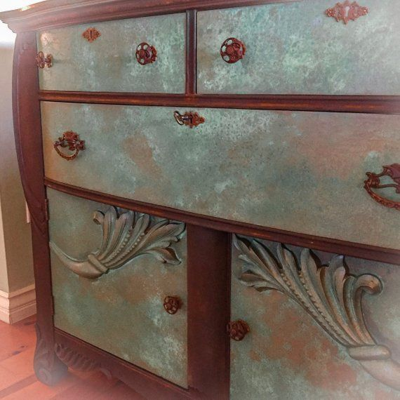 Locking Antique Sideboard Patina Rusted French Dresser Etsy