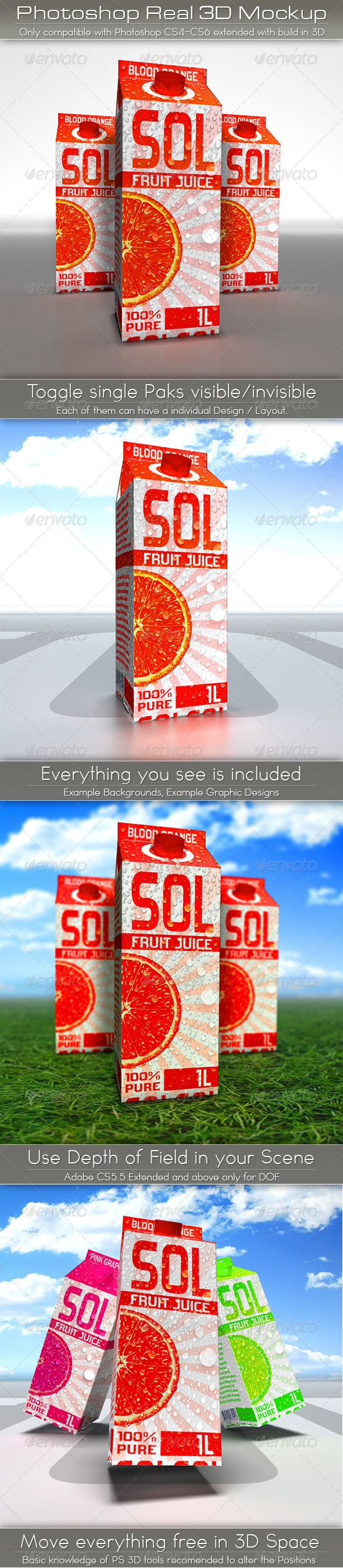 Large Juice Carton Tetra Pack Mockup  #GraphicRiver          HIGHLIGHTS :   Add your design into the smart object layer, and everything is updated with a mouseclick !   Add a different Layouts to each Tetra Pak   Use only a single Pak by toggle the others visibility off.   Change Background or use Alpha   Move the Paks completely free in 3D space.   Everything is well organised, labeled and very simple to use.   Illustrated english Manual included.    WATCH THE DEMO VIDEO HERE (click)   …